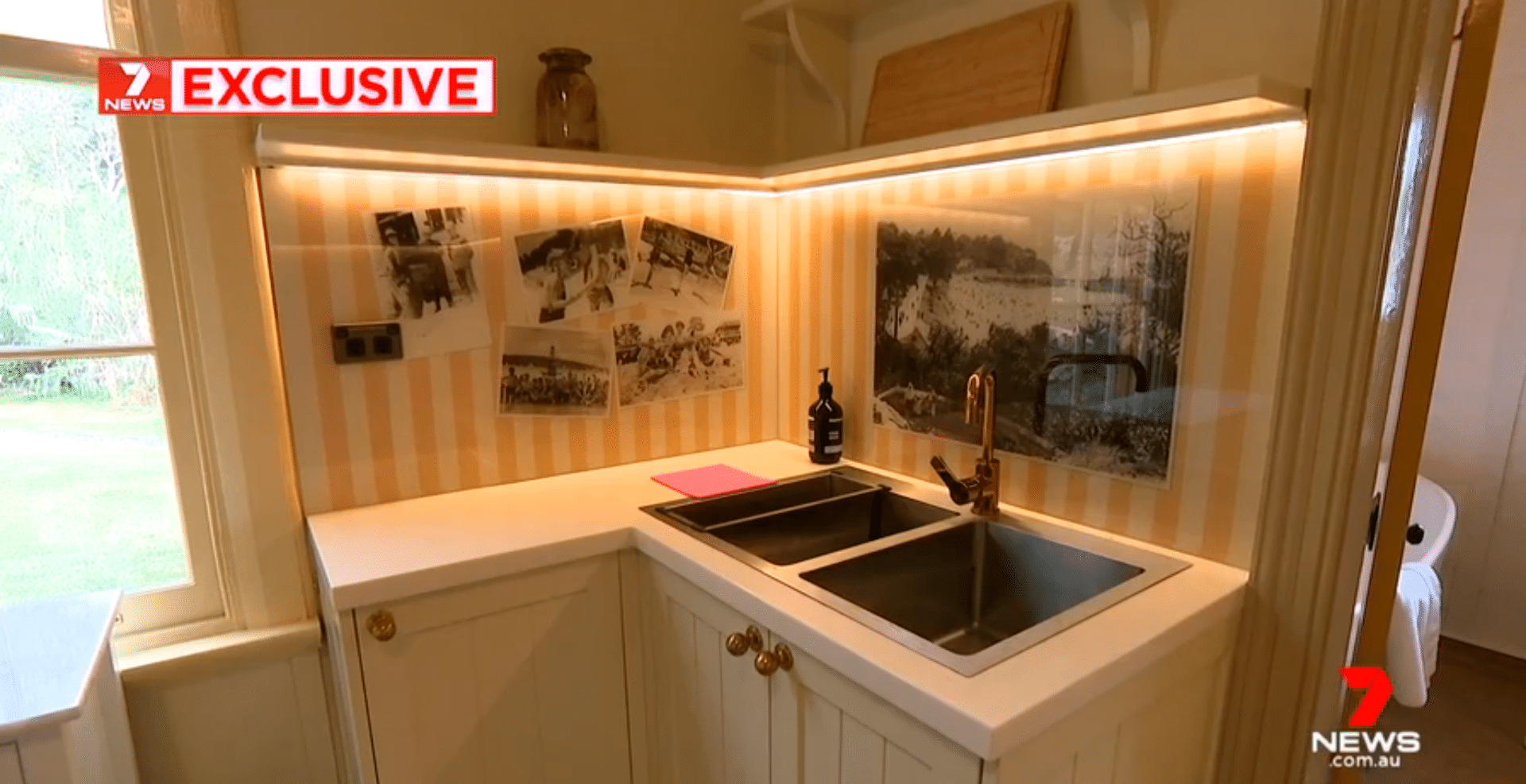 Glass printed splashback for restoration project in Nielsen Park as seen on Seven News