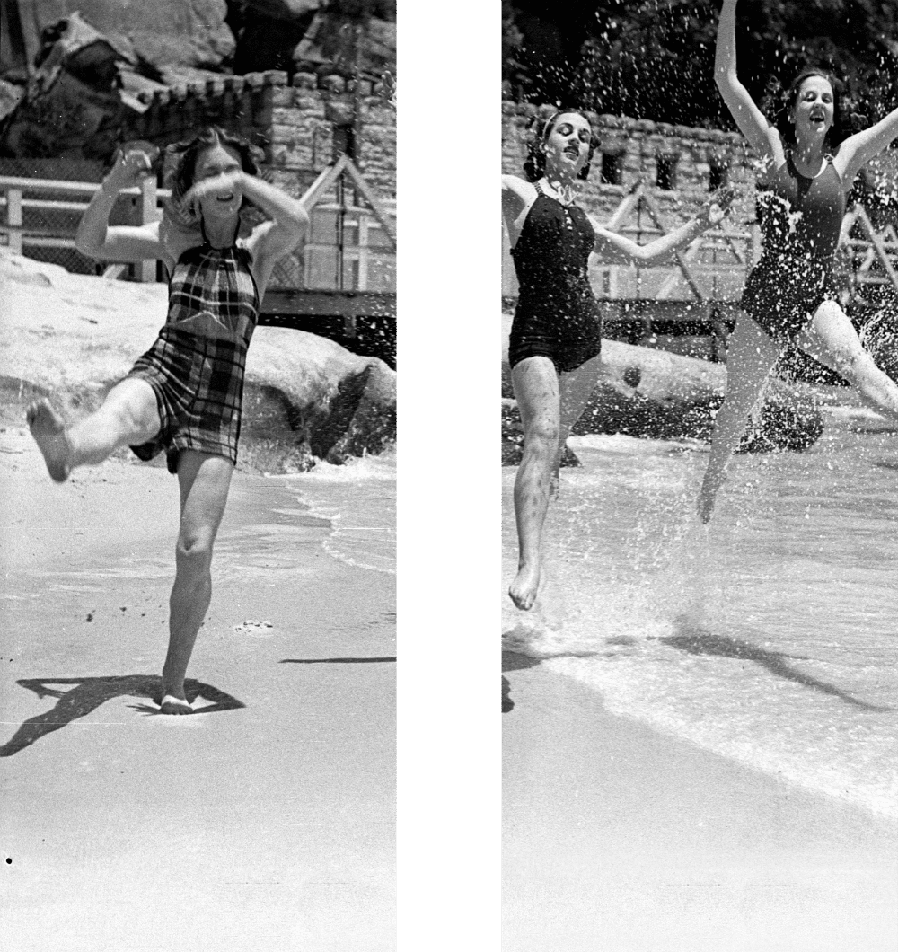 Mock-up of historical photography to be printed for nielsen park in women's glass shower screen
