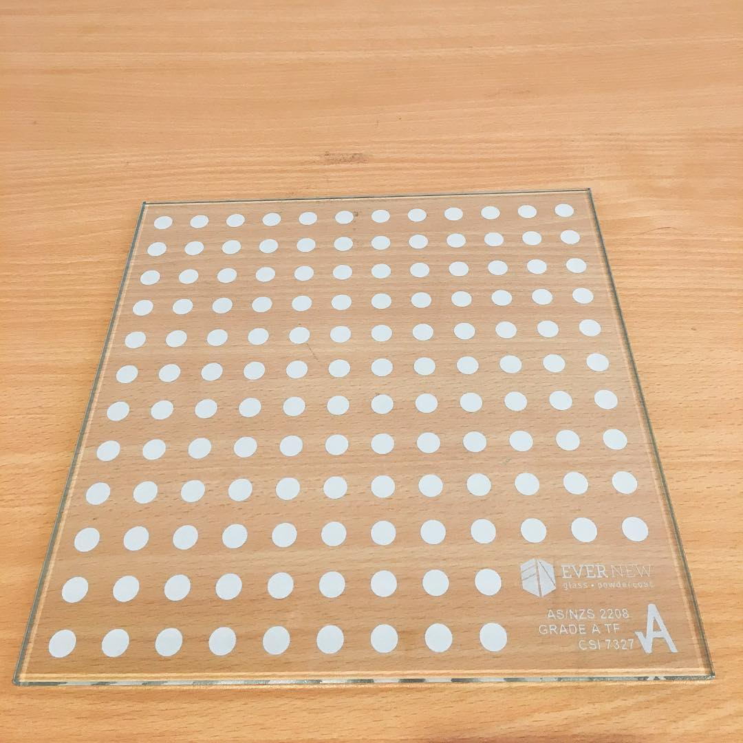 Glass printing sample by Visual Glass Tech to test for size of dots to provide for shading and privacy to an apartment canopy