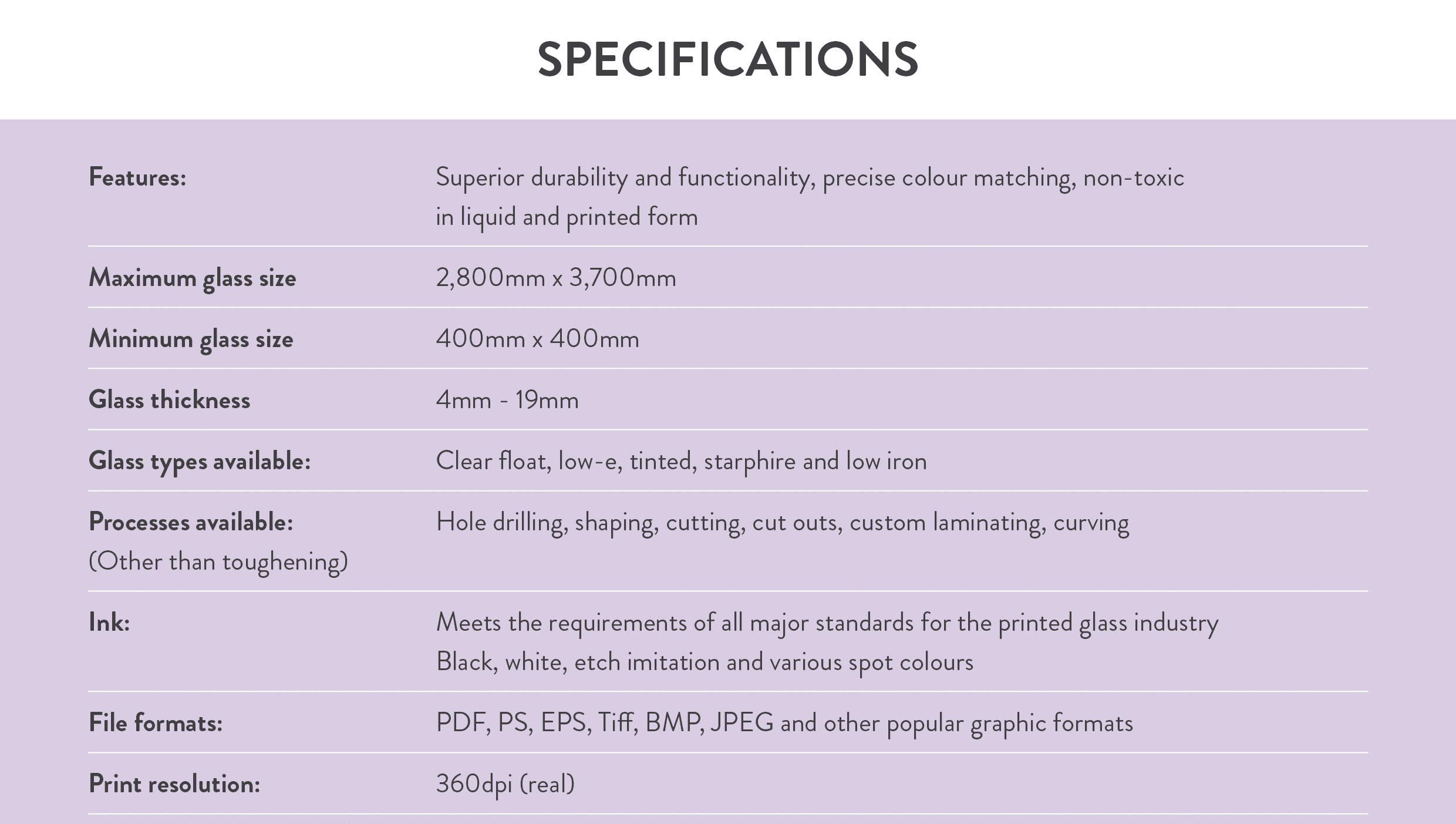 Visual Glass Tech Specifications for Glass Printing