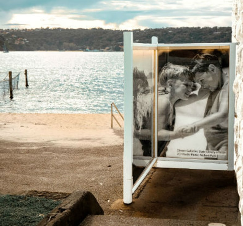 Gleaming waters at Shark Beach Vaucluse just behind digitally ceramic printed glass with LED backlit by Visual Glass Tech